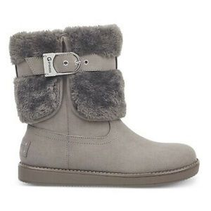 G By Guess Women's Gray Addalyn Faux Fur Boots